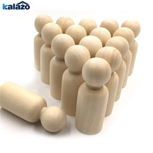 20pcs 35mm Boy and girl Wooden Peg Dolls Unpainted Figures DIY Arts Crafts supplies kids baby toys Christmas home decorations cheap Unfinished Wood