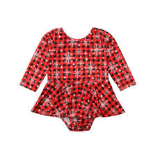Christmas Baby Girl Clothes Plaid Snowflake Bodysuit Long Sleeve Jumpsuit Dress Cotton Party Clothes Baby Girl 0-24M(China)