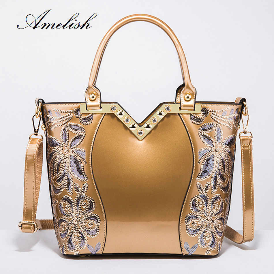 2018 New Female Bag Bright Soft Patent Leather Handbag Women Flower Shaped Sequins Tote Blue Gold Shoulder Messenger Party Bag