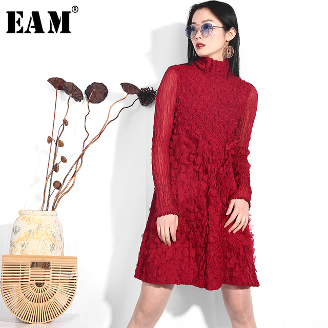 [EAM] 2019 New Spring Summer Stand Collar Long Sleeve Red Stereoscopic Flower Pleated Loose Dress Women Fashion Tide YF38