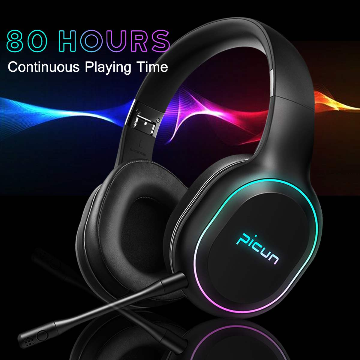 Wireless bluetooth Over Ear Headphones RGB LED Light Smart Vibration Surround Sound Gaming Headset with Mic