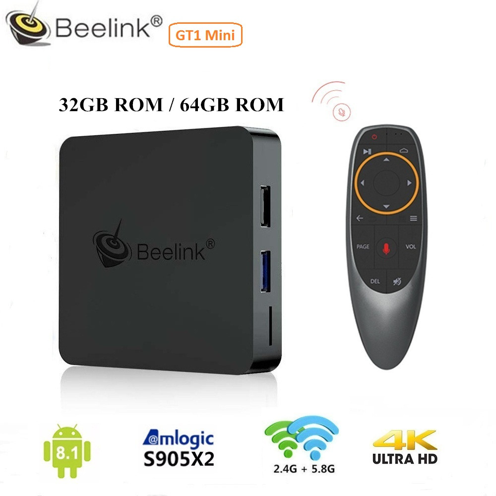 Beelink GT1 MINI boîtier de smart tv Android 8.1 Amlogic S905X2 Voix À Distance Set-top Box 4 K Set Top Box lecteur multimédia