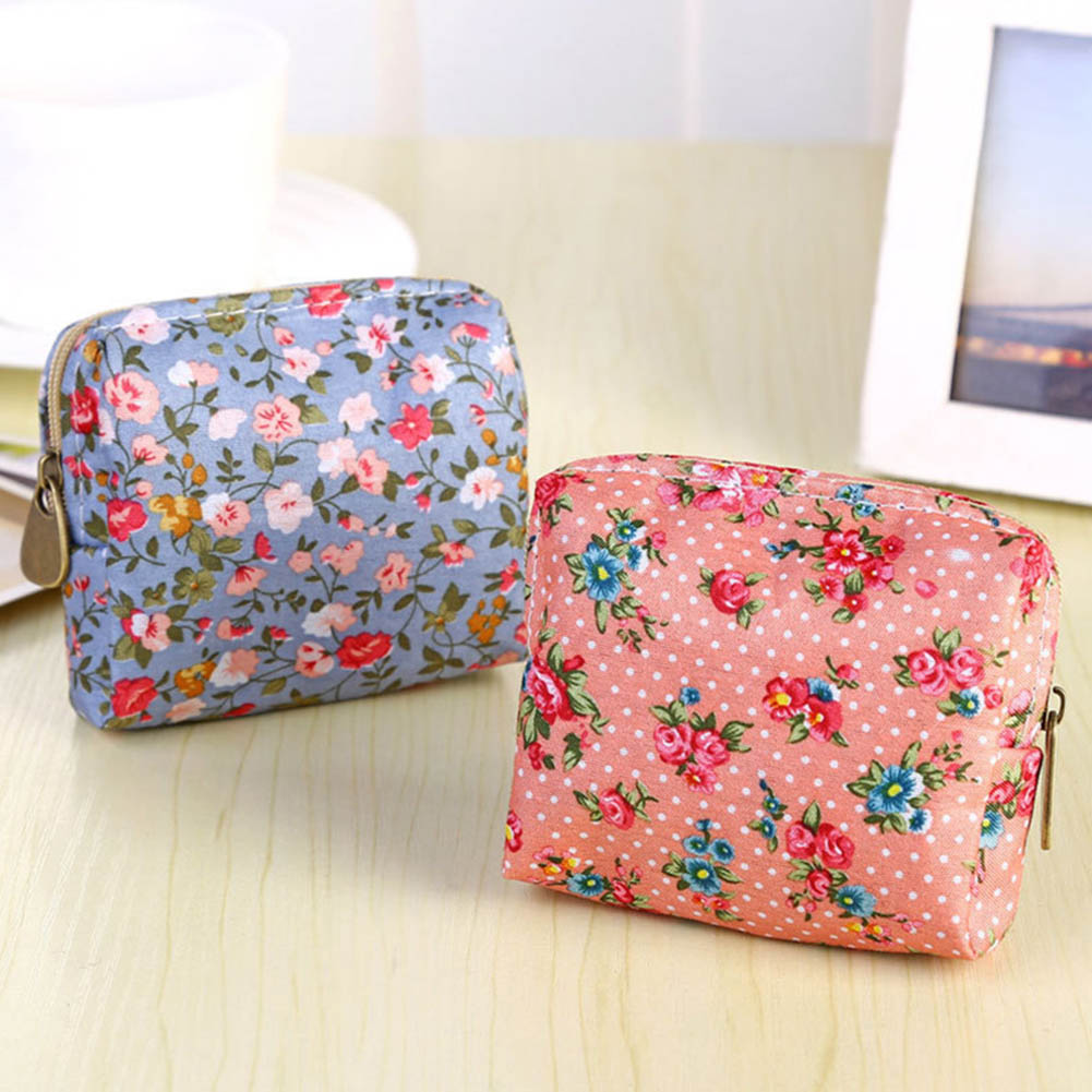 Women Coin Purse Cute Flower Printing Ladies Small Wallet Pocket Headset Line Pouch Credit Card Holder Lipstick Bag Girl Gift