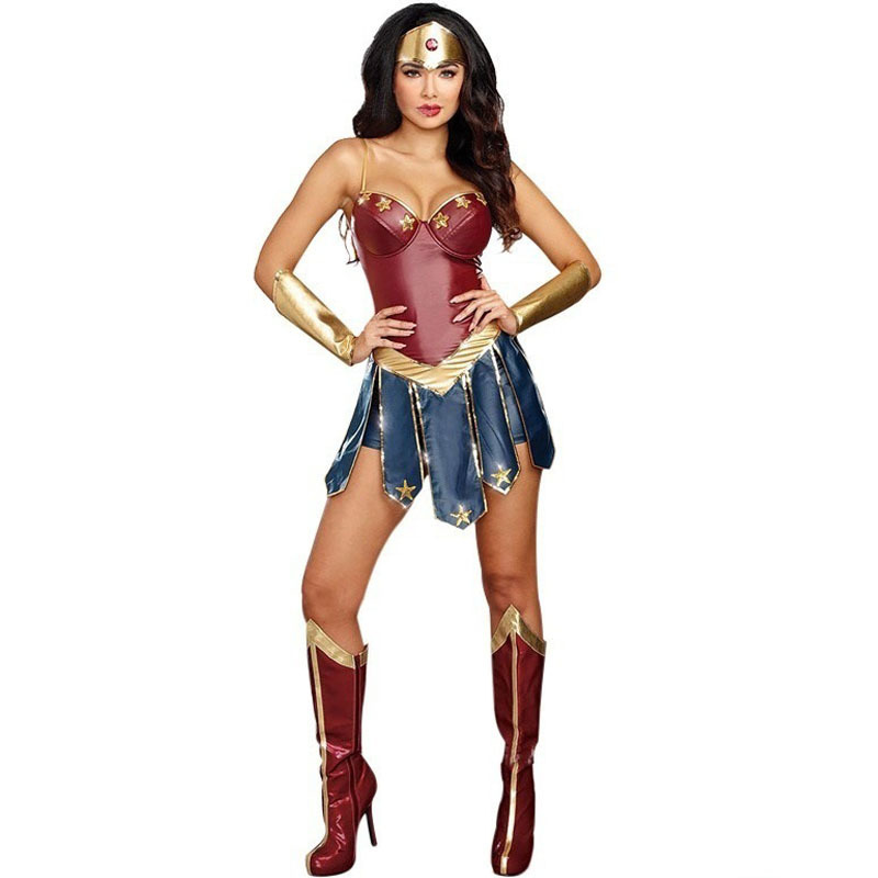 Halloween Dress Up Wonder Woman Wonderwoman Justice League COSPLAY Capo Superwoman Costume Diana Game Uniform Lady Girl