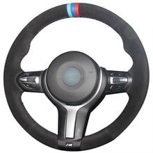 лучшая цена Black Suede Light Blue Blue Red Marker Steering Wheel Cover for BMW F87 M2 F80 M3 F82 M4 M5 F12 F13 M6 F85 X5 M F86 X6 M F33 F30