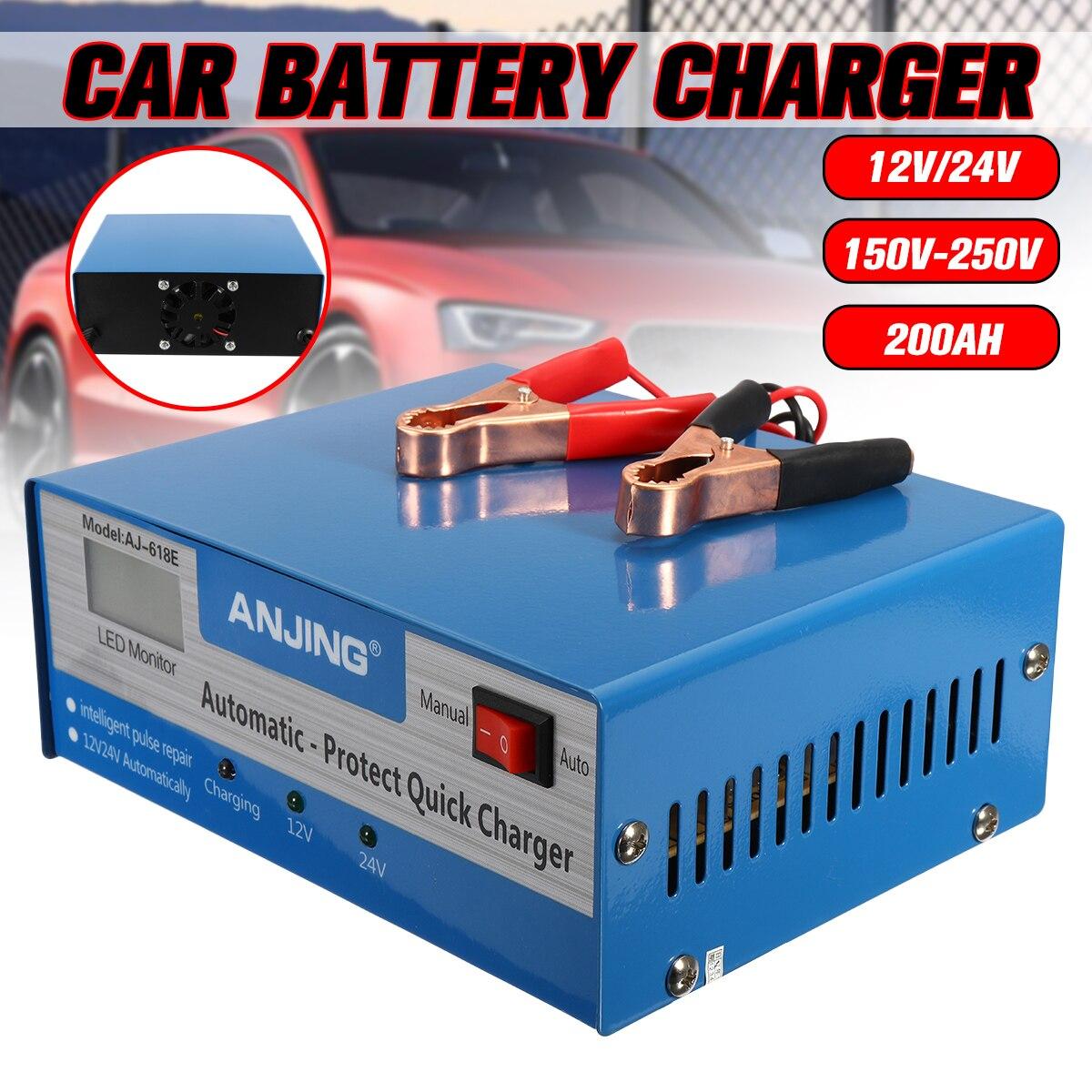 Car Battery Charger Lead Acid Battery 12V/24V 150V 250V 200AH PWM US Applicable to Five Charging Modes Digital Pulse Repairing