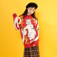 Harajuku Static Electricity Cat Pattern Thick Half High Neck Sweaters Women'S Pullover Loose Knit 2019 Autumn Winter Top Female