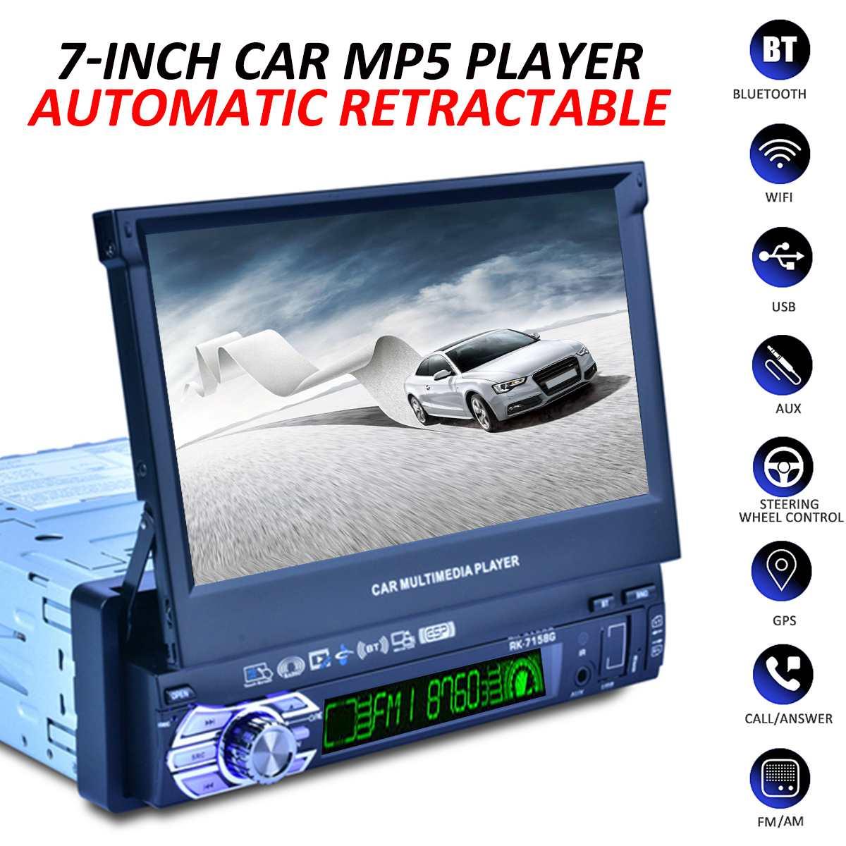 Car-Radio Multimedia-Player Stereo 1-Din Gps Navigation Bluetooth HD 7-Rearview-Camera