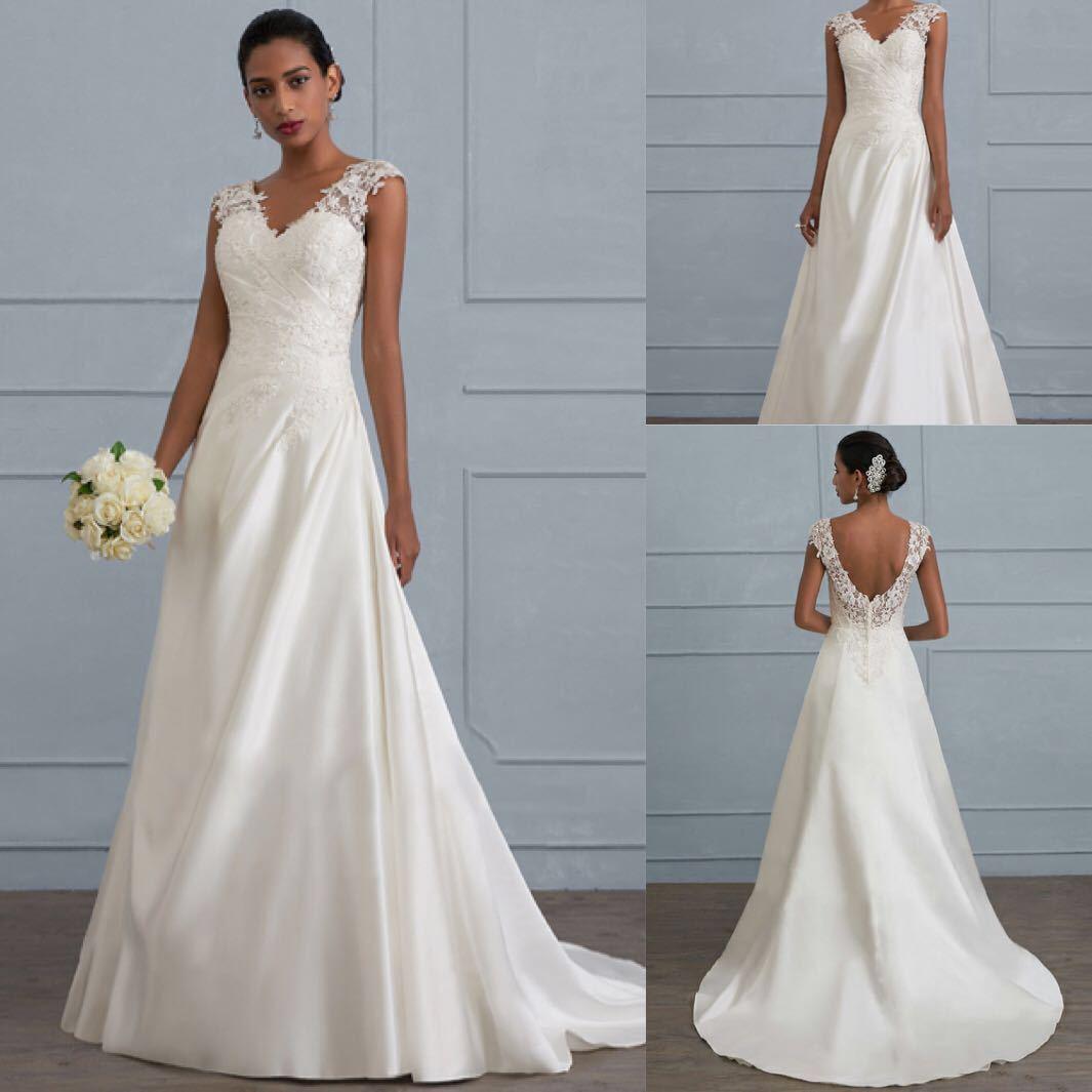 Elegant Wedding Gowns For Older Brides: Wedding Boho Dress Elegant A Line V Neck Backless Long