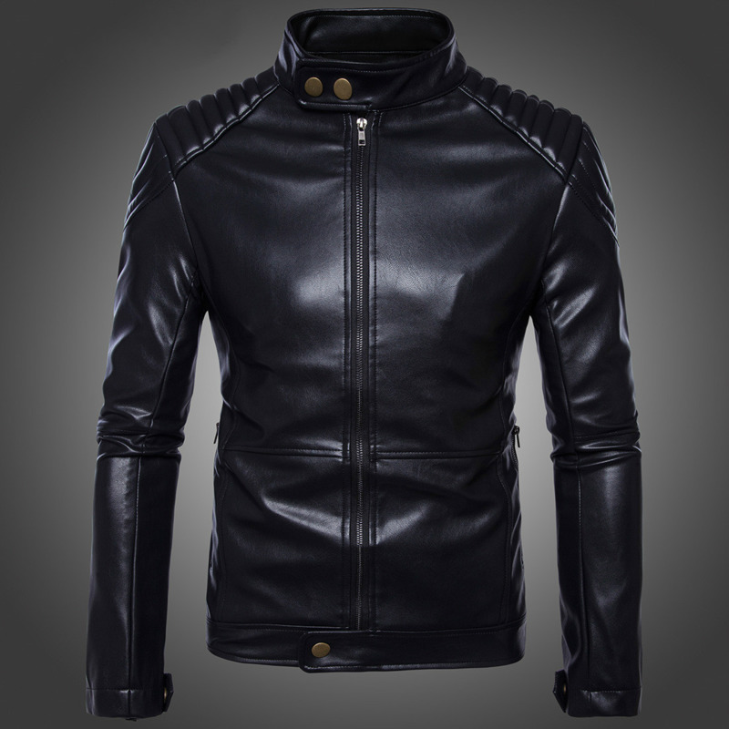 Autumn Winter Motorcycle Zip PU Leather Jacket Men Windproof Outerwear Casual Jacket Clothes Male Fashion Coat
