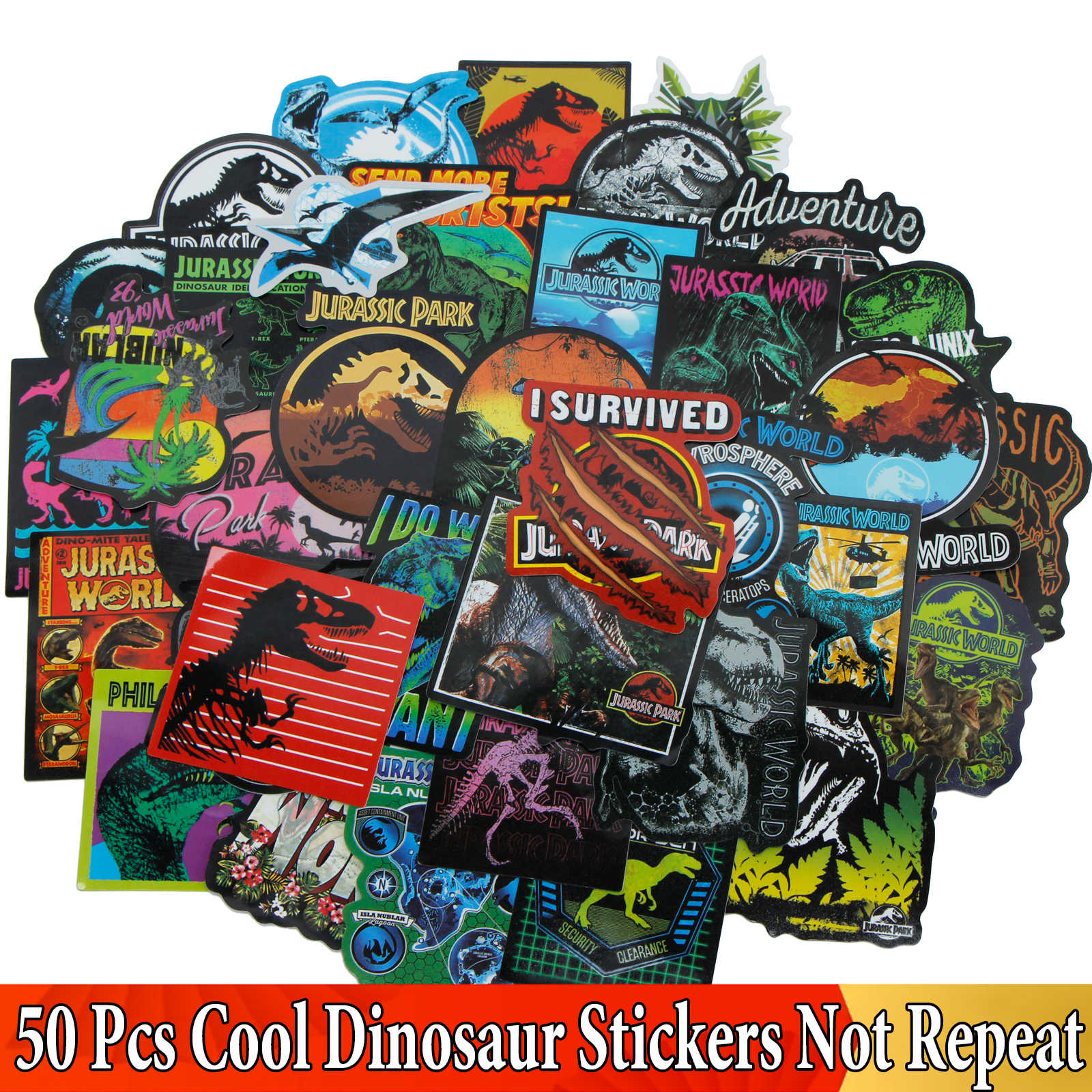 Random 50 Pcs/Lot Dinosaur JDM Sticker for Jurassic Park Graffiti Sticker for Luggage Laptop Moto Skateboard Car Kids DIY Toy