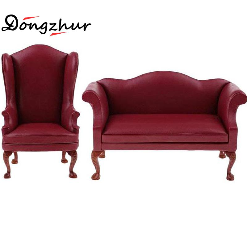 High Quality Model Toys Miniature Furniture Leather Single / Double Sofa Delicate For 1:6 Doll House Accessories Children Toys цена и фото