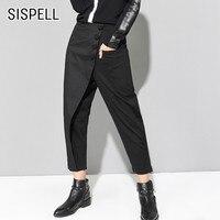 SISPELL Women's Asymmetric Pants Elastic High Wasit Black Trouser For Women Harem Pants Female Autumn Fashion Streetwear Tide