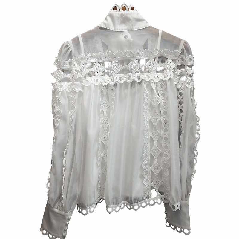 TWOTWINSTYLE レディースシャツブラウススタンド襟長袖中空アウトパッチワークレーストップス女性 2019 春エレガントなファッション