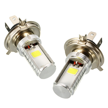Mayitr 2pcs Motorcycle H4 Super Bright COB LED Headlight Chips Hi/Lo 12W/6W Beam Front Light DC12-80V Lamp Bulb White 6000k