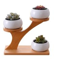White Ceramic Succulent Flower Pot And Tray Bracket Combination Simple Creative Home Gardening Decoration Potted Flower Pot Set