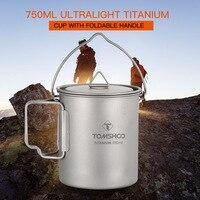 TOMSHOO 750ml Titanium Pot Titanium Water Mug Cup Outdoor Camping Pot Cookware Pots Picnic Hang Pot with Lid and Foldable Handle