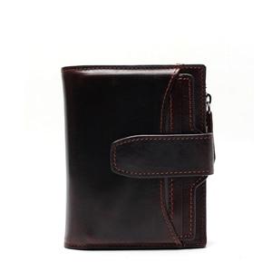 Image 2 - Portefeuille en cuir véritable pour hommes, qualité supérieure, cire dhuile, portefeuille en cuir de vache, porte monnaie pour hommes, fermeture éclair, 100%