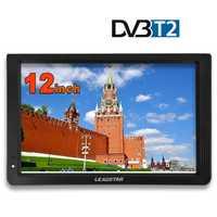 Portable 12 Inch Tft Led 1080P Hd Pvr H.265 Dvbt2 Digital Analog TV Car Television Support Usb Tf Card Reader EU Plug