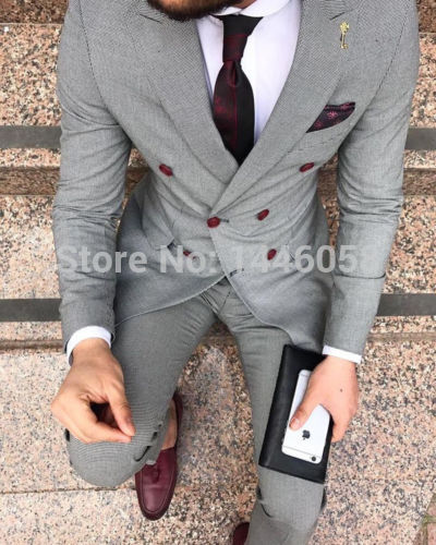 2019 Double Breasted Casual Men Suits Latest Coat Pant Designs Male Groom Wear Slim Fit Wedding Suits For Men Light Grey Tuxedo
