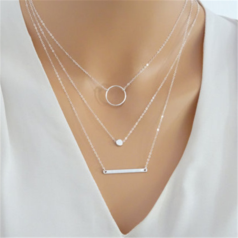 2019 Fashion Maxi Statement Multilayer Necklace Multi-element Metal Rod Circles Geometric Round Chokers Necklaces Women Jewelry