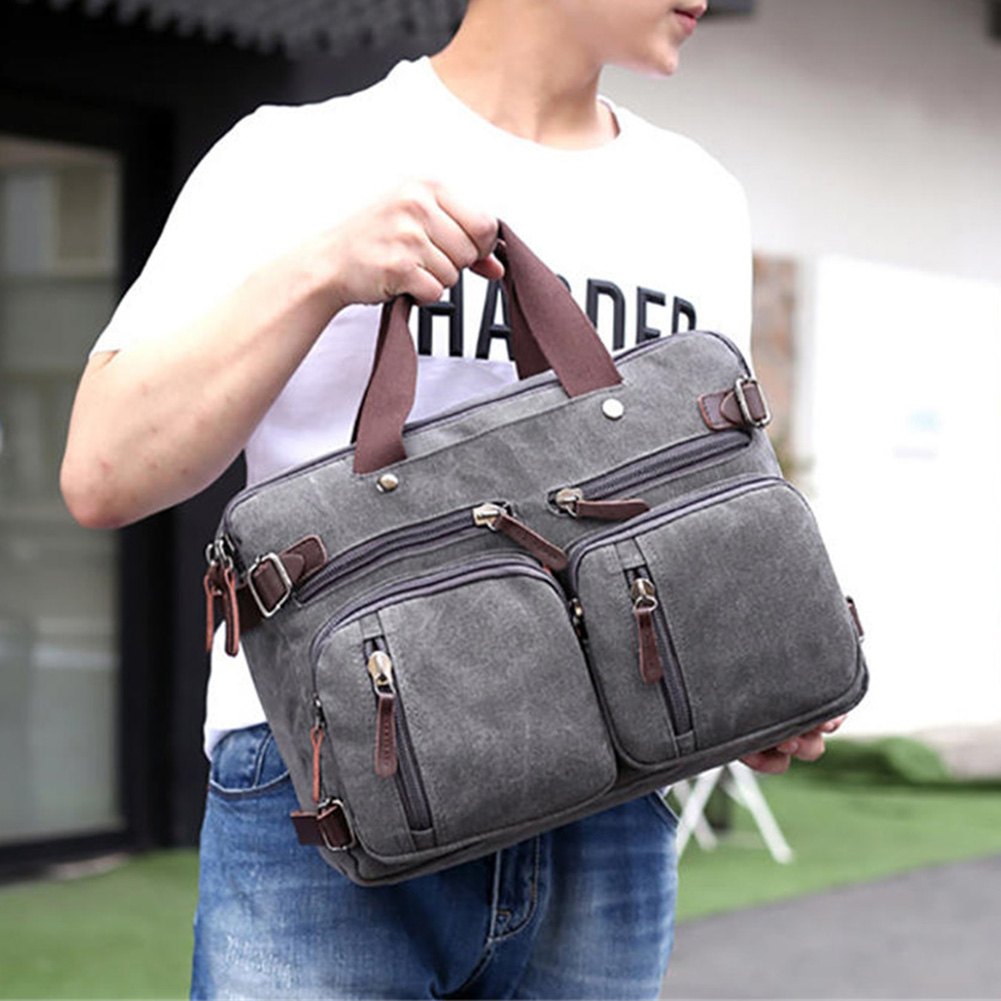 Men'S Vintage Canvas Handbag 2019 New Coffee Dark Blue Messenger Shoulder Bag Durable Feature Pack Travel Camping Bag Satchel