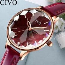 CIVO Luxury Top Brand 2019 Rose Gold Women Bracelet Quartz Wrist Watches New Dropshipping Waterproof Leather Diamond