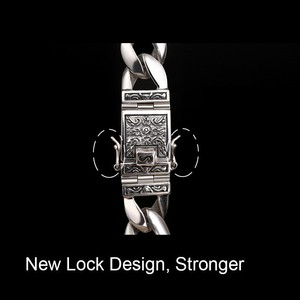 Image 3 - ZABRA Real 925 เงินสร้อยข้อมือ 12 มม.Smooth Flower ปลอดภัยล็อคภาษาโปลิชคำ Link Chain ชาย BIKER สร้อยข้อมือเงิน