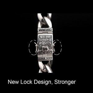 Image 3 - ZABRA Real 925 Silver Mens Bracelet 12mm Wide Smooth Flower Safe Lock High Polish Link Chain Male Biker Silver Bracelet