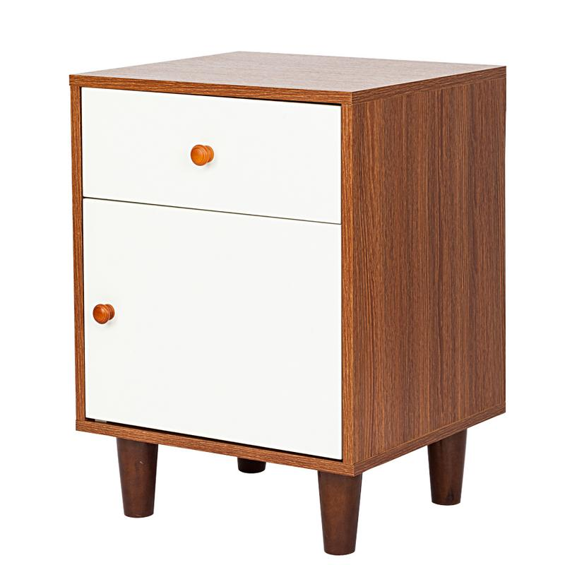 One Drawer One Door Bedside Cabinet Night Table Walnut White Color Bedroom Chest Of Drawers Household Products