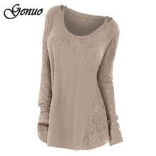 Plus Size Lace Panel Floral Women Sweater Long Sleeve Autumn Winter Knitted Tops Solid Jumper Casual Pullovers pull femme