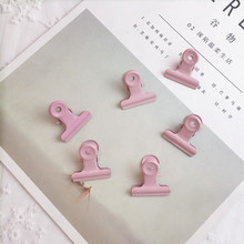 SIXONE 3pcs Pink Colour Woman Roast Lacquer Metal Round Tail Clip Work Bill Test Paper File Clip