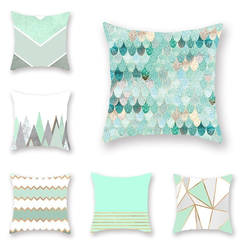 Mint Green Bohemian Geometric Pillow Cover Case Pillowcase For Living Room Chair Seat 45*45cm Home Decorative