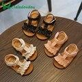 Claladoudou/12-16 см; детские сандалии; коллекция 2019 года; цвет розовый, бежевый; Летние сандалии для девочек; обувь принцессы с оборками; нескользящие детские сандалии для малышей - фото