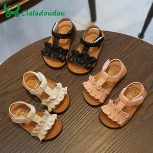 Image 1 - Claladoudou/Детские сандалии на 12 16 см; Цвет розовый, бежевый; Однотонные летние сандалии для девочек; Обувь принцессы с оборками; Нескользящие детские сандалии для малышей; 2019