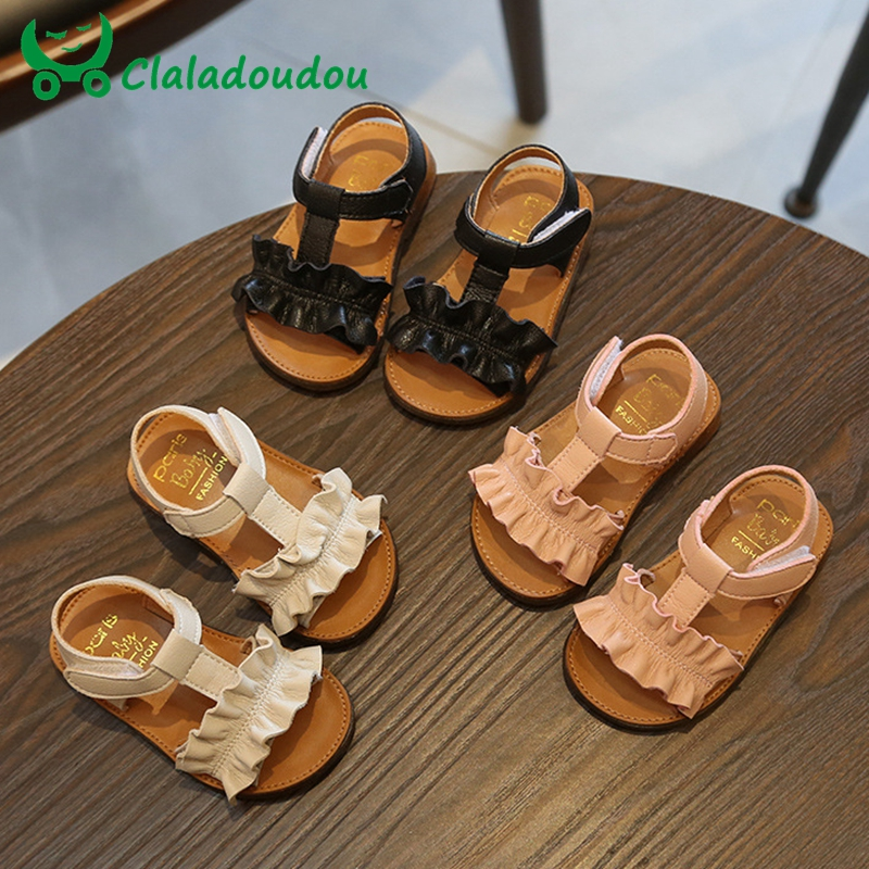 Claladoudou 12-16CM Kids Sandals 2019 Pink Beige Pure Summer Girls Sandal Ruffles Princess Shoes Anti-Slip Baby Sandal Toddler