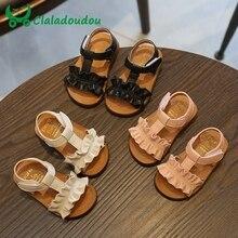 Claladoudou 12 16CM çocuk sandaletleri 2019 pembe bej saf yaz kızlar Sandal Ruffles prenses ayakkabı kaymaz bebek sandal yürümeye başlayan