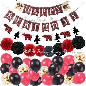 Leñador cumpleaños suministros de decoraciones para fiestas cuadros vichy grandes Camping oso salvaje 1st cumpleaños, partido Banner Garland
