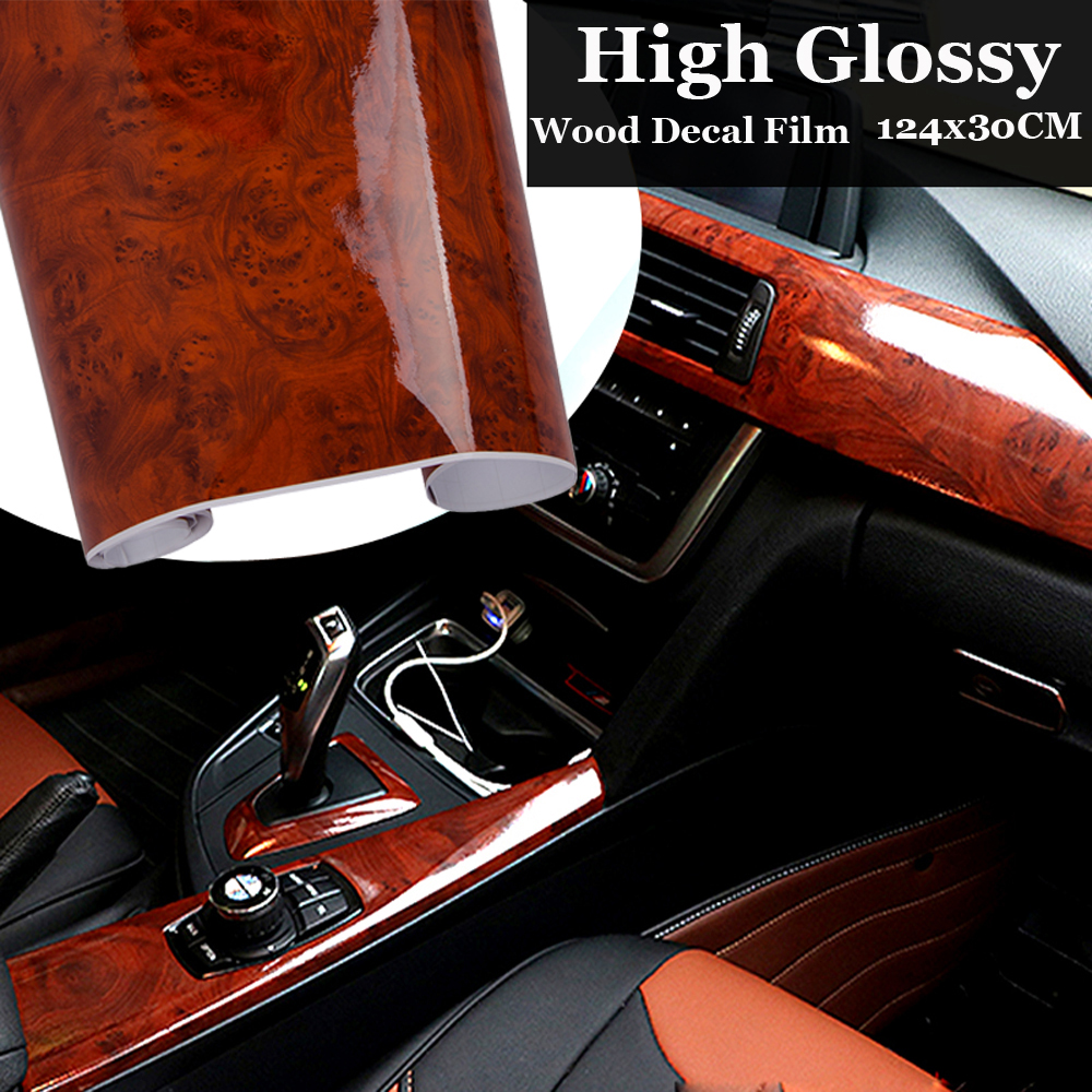 1PC High Glossy Wood Grain flexible Vinyl Maroon Sticker Decal water Proof protect Car Internal DIY Film 30x124CM auto Stickers