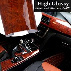 1PC haute brillance Grain de bois souple vinyle marron autocollant décalcomanie étanche à l'eau protéger voiture interne bricolage Film 30x124CM auto autocollants