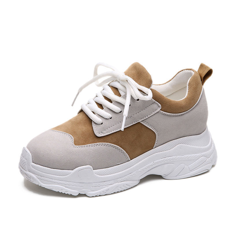 2019 Summer Stylish Women Casual Shoes   Leather     Suede   Dad Platform Chunky Sneakers Harajuku Flats Thick Sole Tenis Walking Shoes