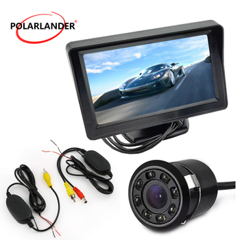 4.3 Inch Rear View Monitor Video Transmitter & Receiver Kit 8led Rearview Car Camera  Pocket-sized Rear View Monitor