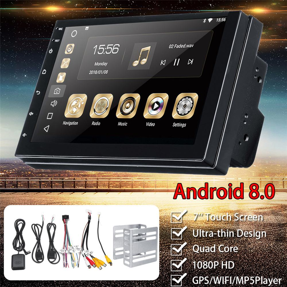 Pour Android 8.0 lecteur multimédia de voiture FM Radio stéréo 2 DIN WIFI Bluetooth MP5 lecteur GPS Nav Quad Core Audio vidéo 7 ''1G + 16G