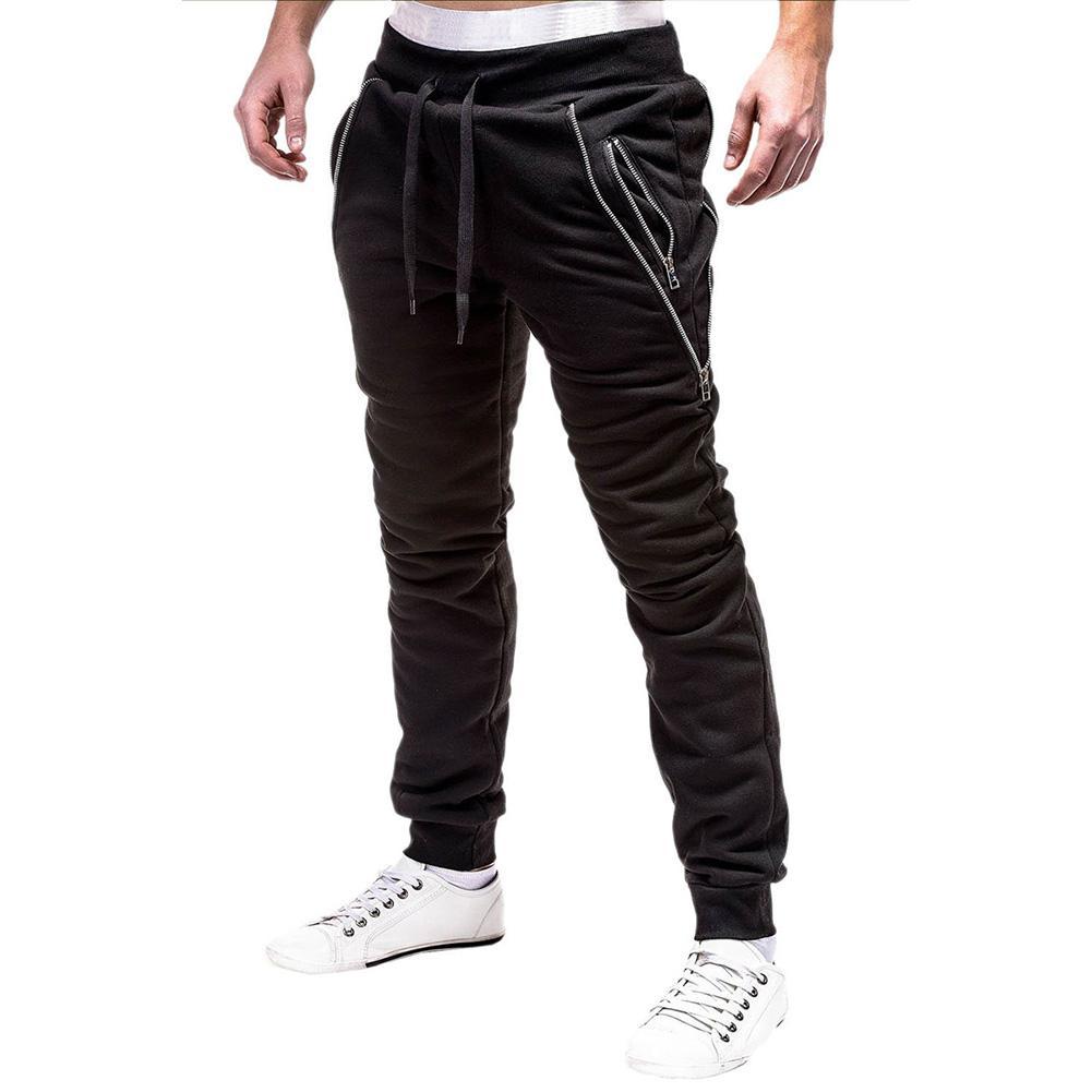 mrwonder Men Stylish Zipper Decoration Sports Trousers Long Casual Pants Perfect Gift
