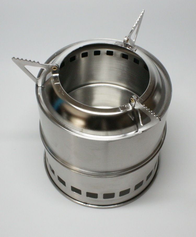 Folded Outdoor Cooking Picnic Camping Stove Portable Stainless Steel Lightweight Wood Stove Solidified Alcohol Stove