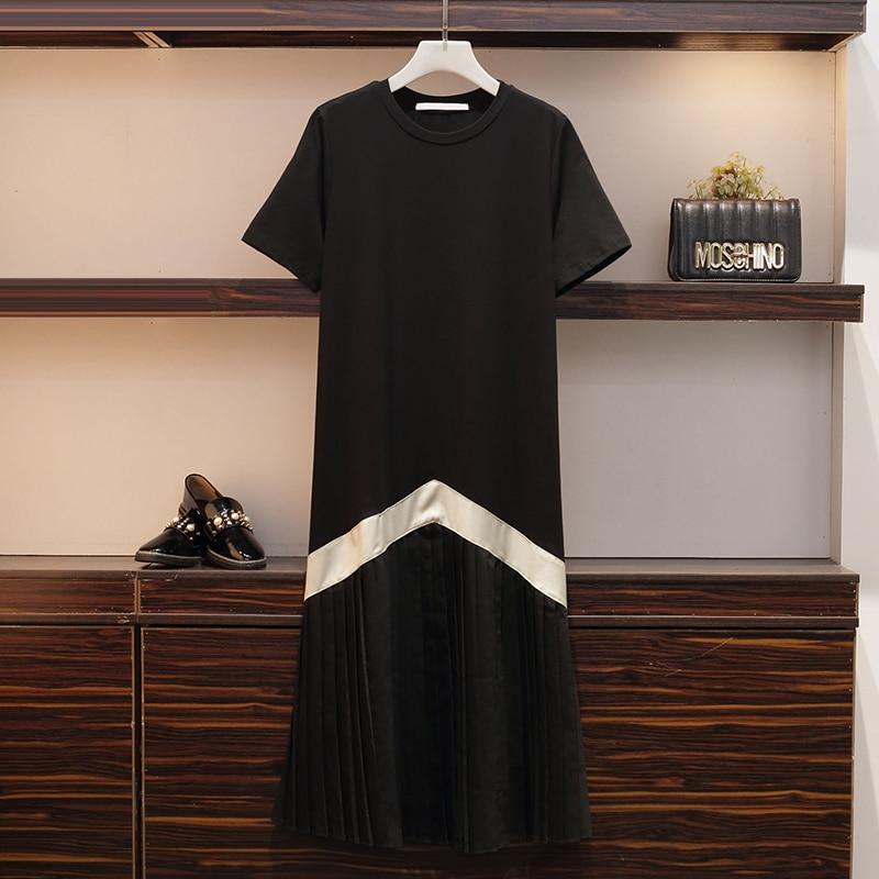 XL-4XL grande taille femmes noir tenue décontractée été 2019 à manches courtes coton rayé Patchwork plissé en mousseline de soie à volants robes du Midi