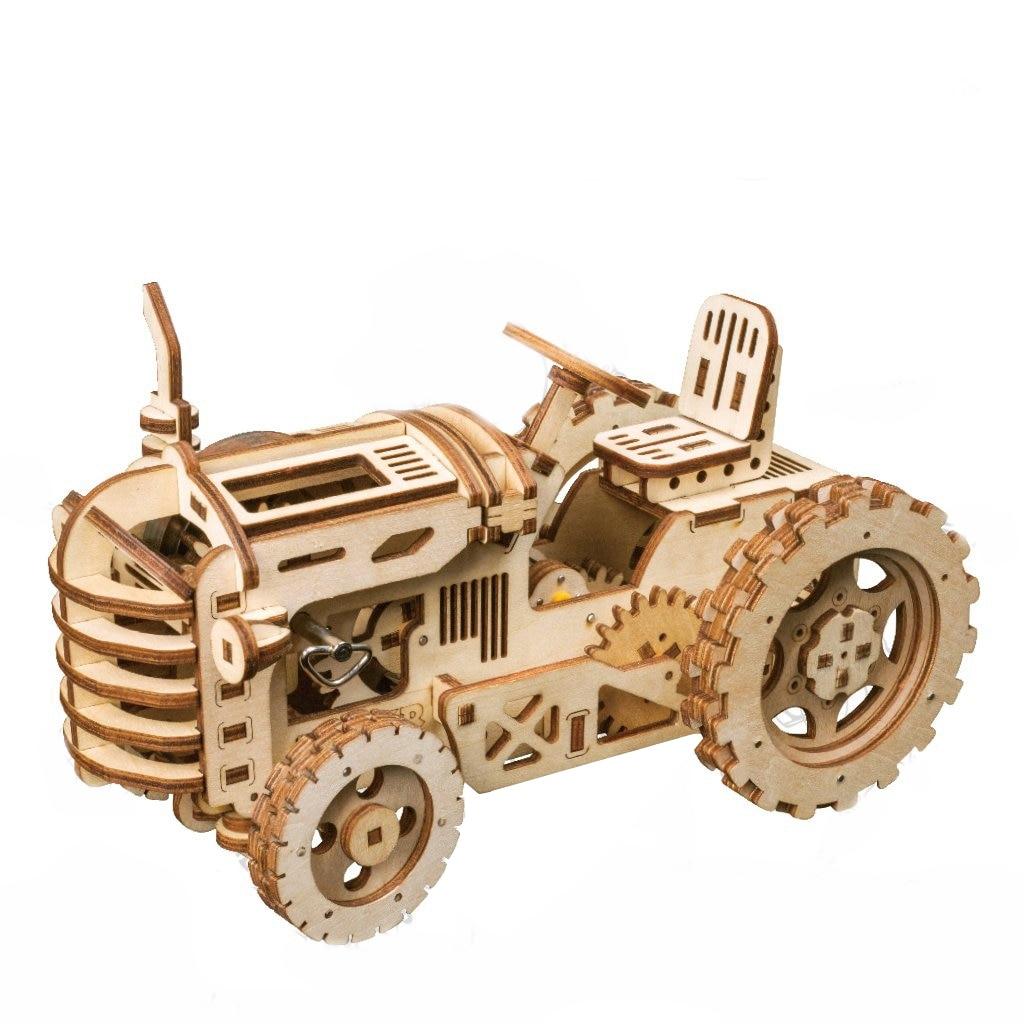 Robotime bricolage créatif engins d'entraînement tracteur 3D en bois modèle construction Kits jouets loisirs cadeau pour enfants adulte LK401 - 2