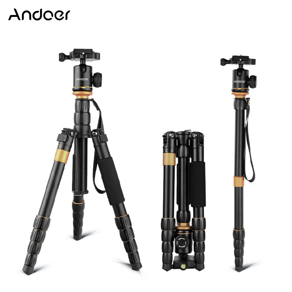 Andoer Professional Camera Tripod For Canon Nikon Sony DSLR Camera Aluminum Alloy With 1/4 Inch & 3/8 Inch Screws Tripod Monopod