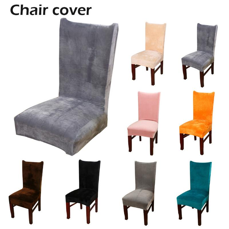 1PC Stretch Fox Velvet Fabric Dining Room Wedding Kitchen Home Chair Seat Covers