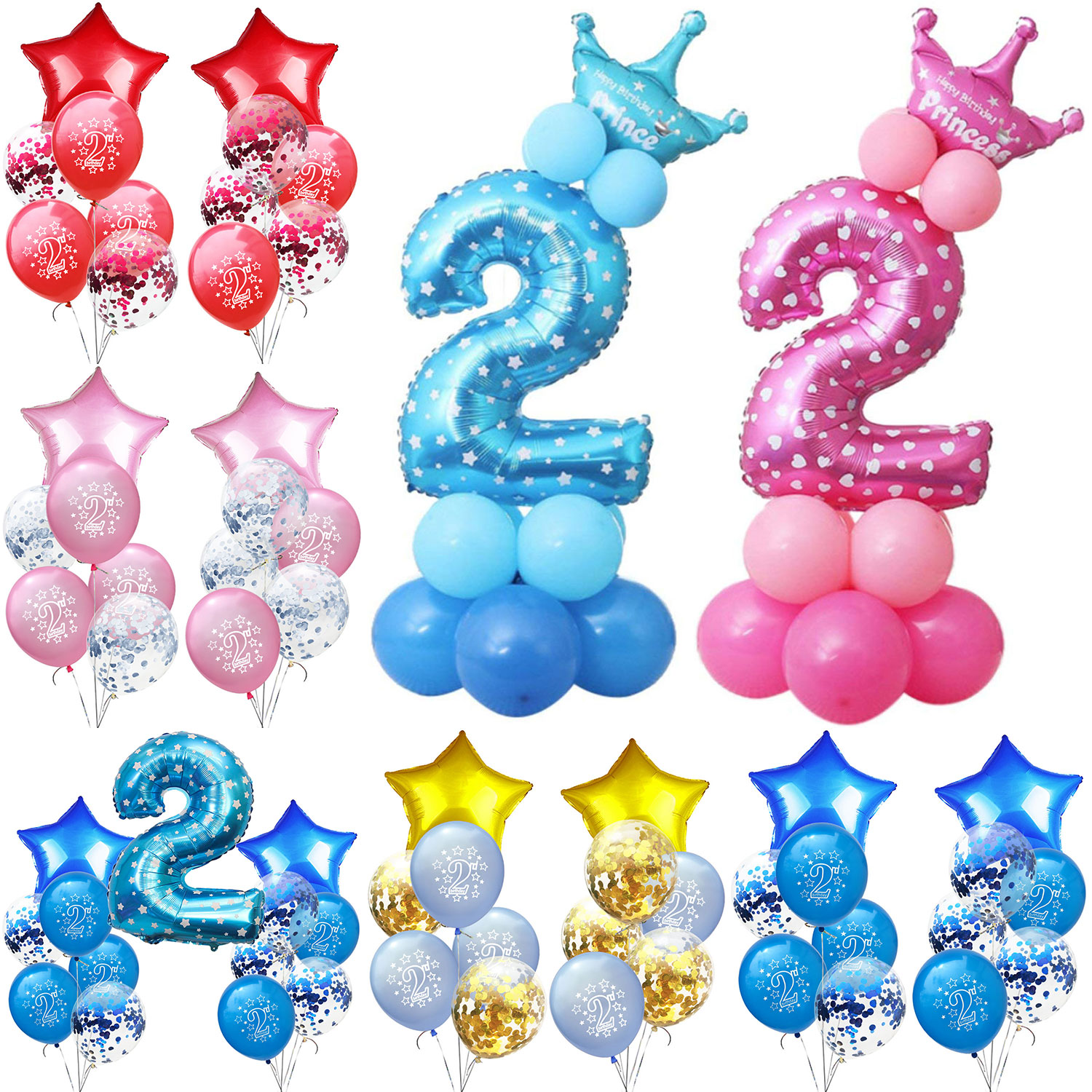 AMAWILL 12 18inch 2 Year Old Birthday Pink Blue Latex Balloons Boy Girl Happy 2nd Party Decorations Kids Baby Shower